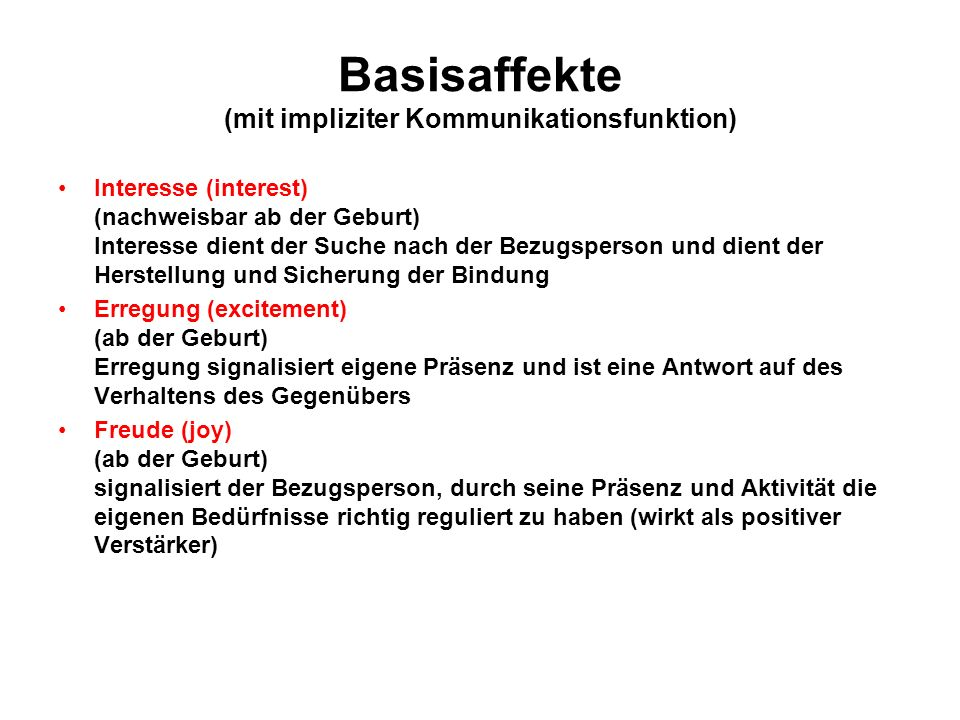 Basisaffekte (mit impliziter Kommunikationsfunktion)