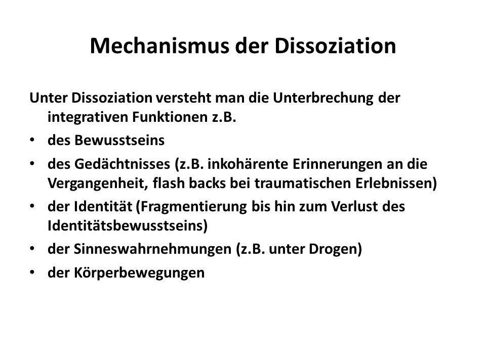 Mechanismus der Dissoziation