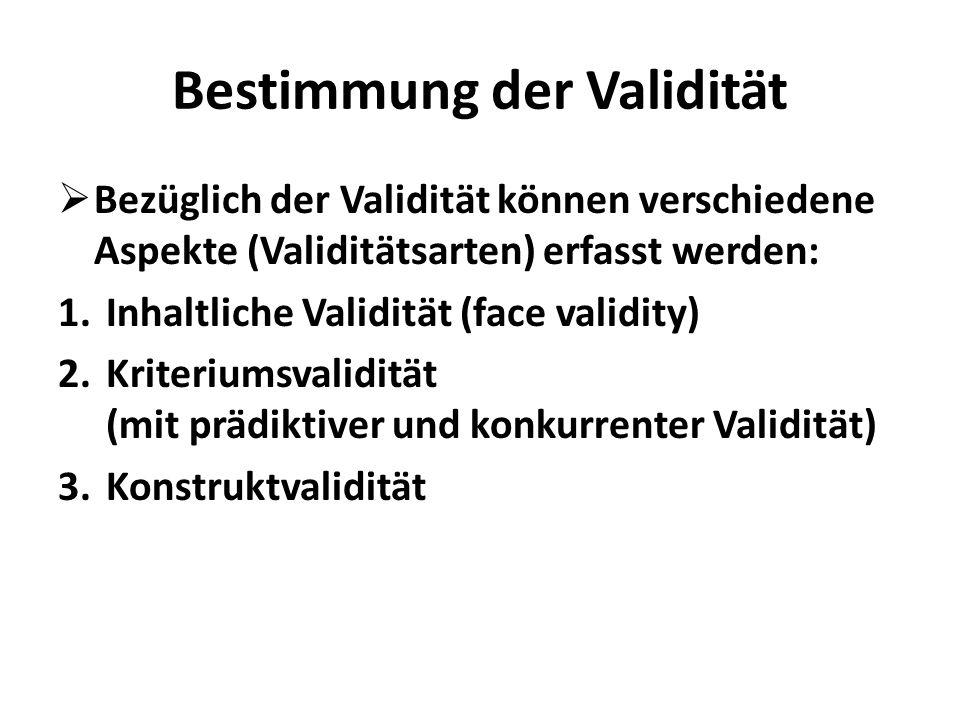 Bestimmung der Validität