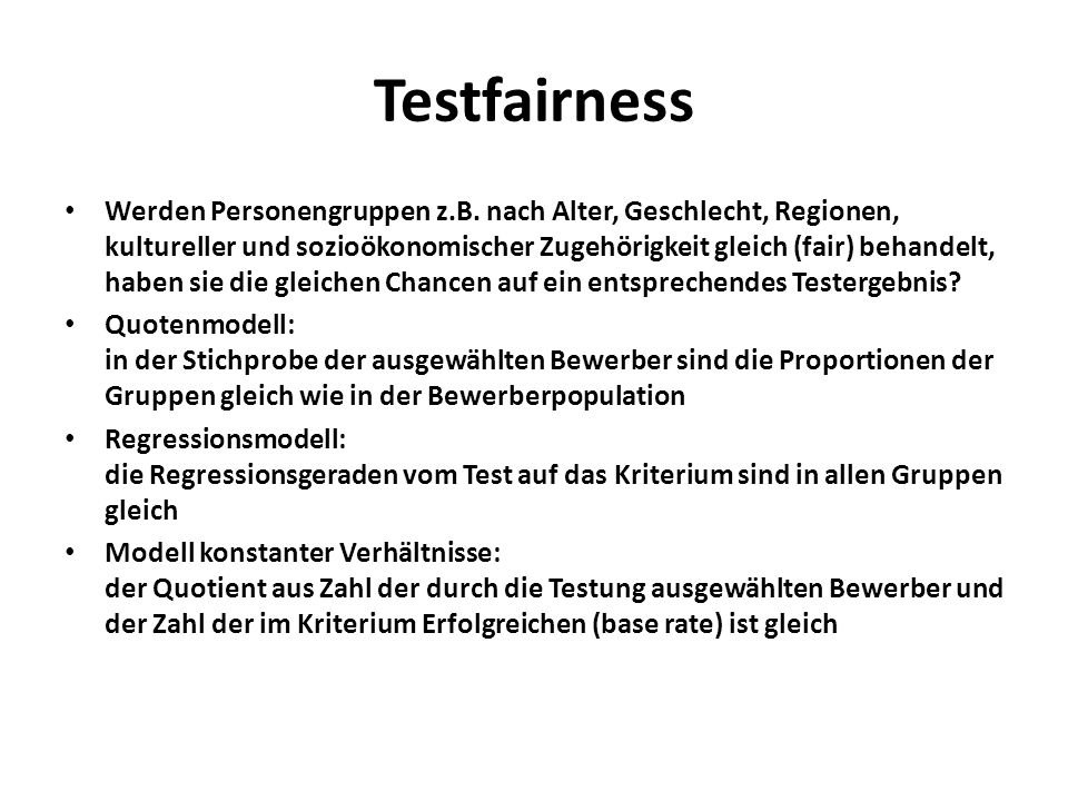 Testfairness