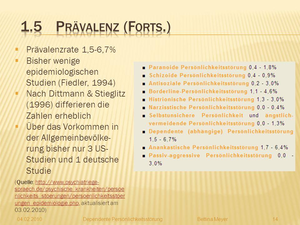 1.5 Prävalenz (Forts.) Prävalenzrate 1,5-6,7%