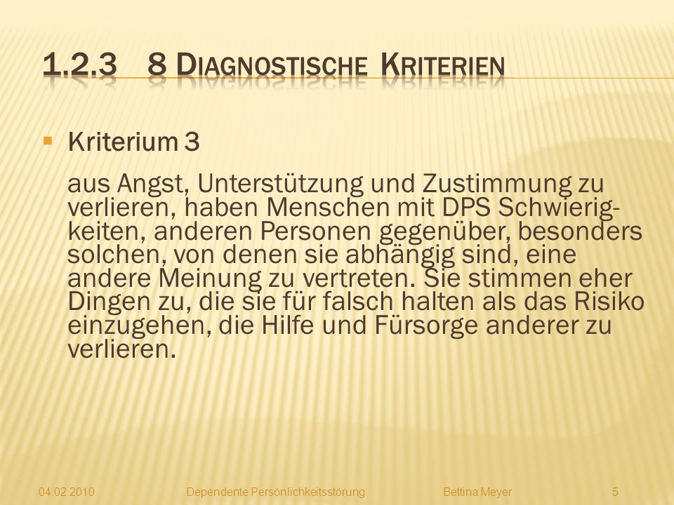1.2.3 8 Diagnostische Kriterien
