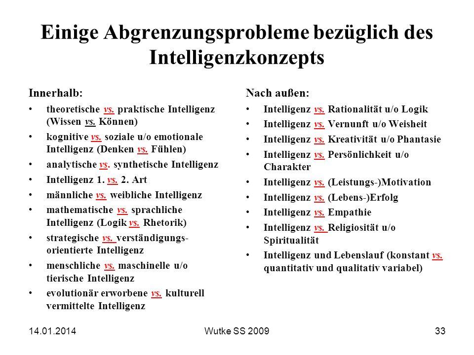 Einige Abgrenzungsprobleme bezüglich des Intelligenzkonzepts