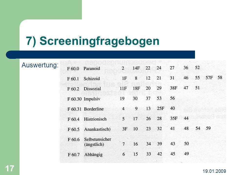 7) Screeningfragebogen