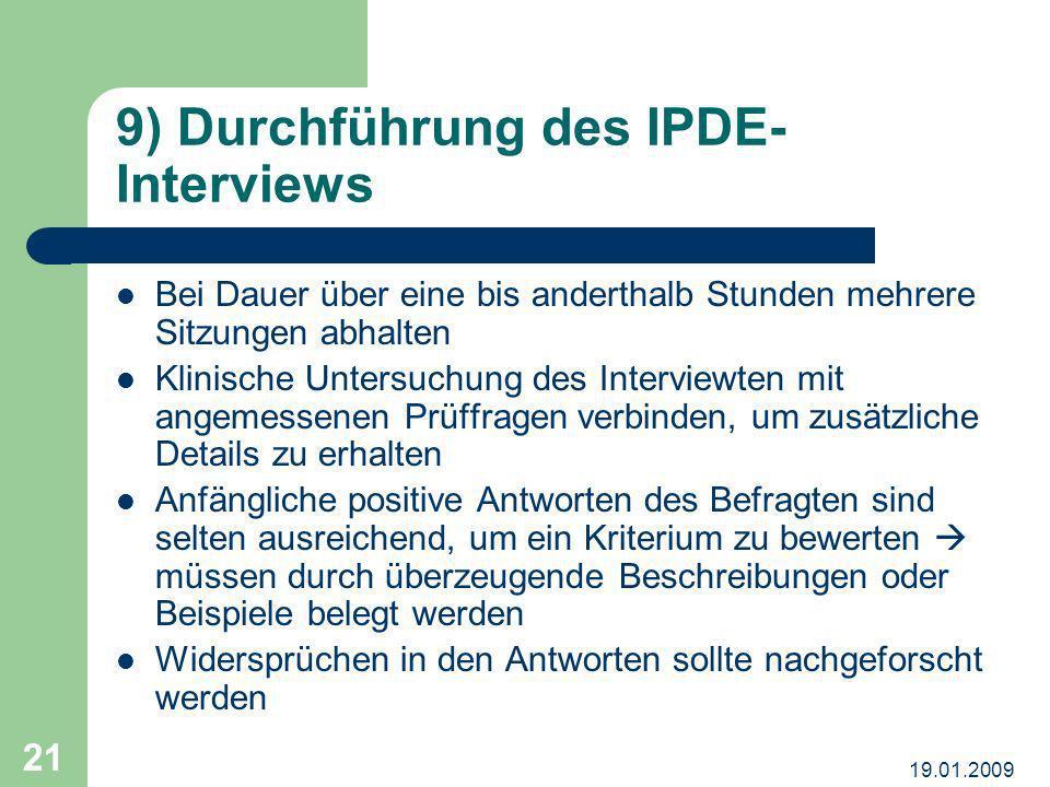 9) Durchführung des IPDE-Interviews