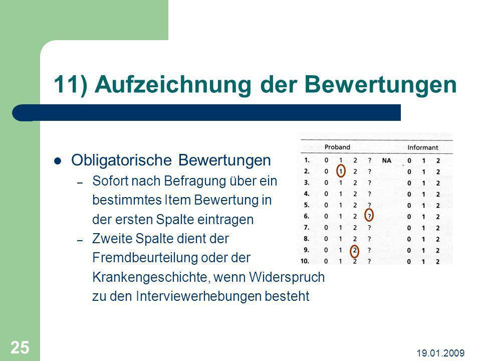 11) Aufzeichnung der Bewertungen