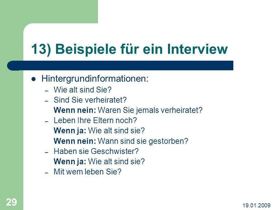 13) Beispiele für ein Interview