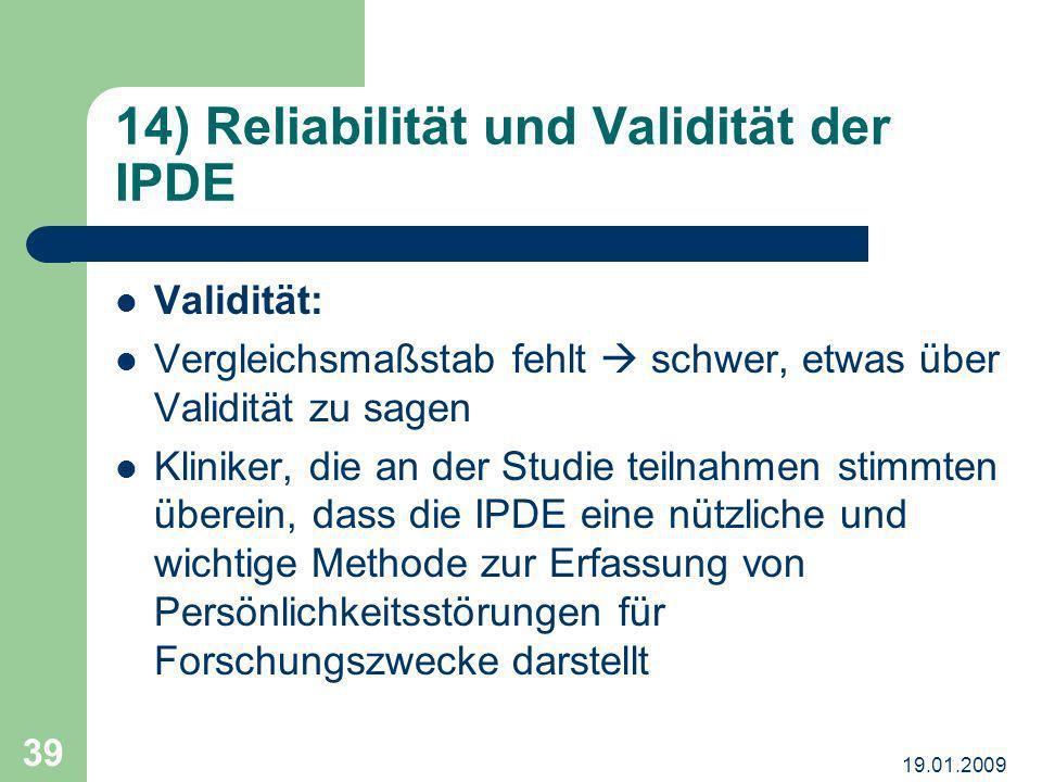 14) Reliabilität und Validität der IPDE