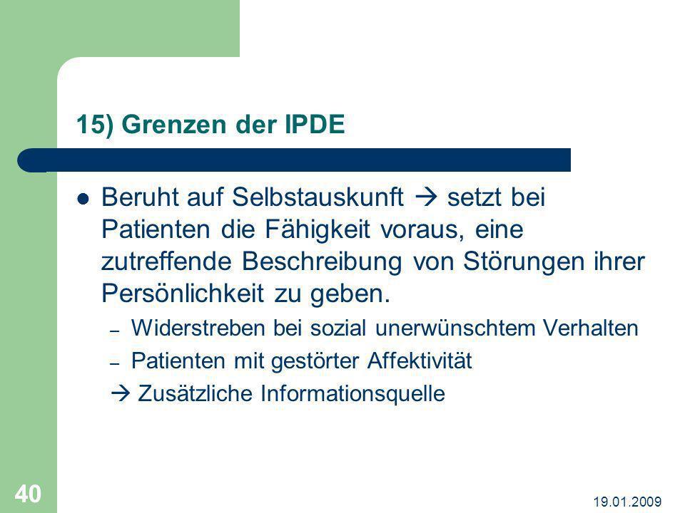 15) Grenzen der IPDE