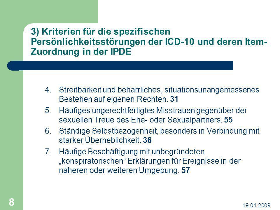 3) Kriterien für die spezifischen Persönlichkeitsstörungen der ICD-10 und deren Item-Zuordnung in der IPDE