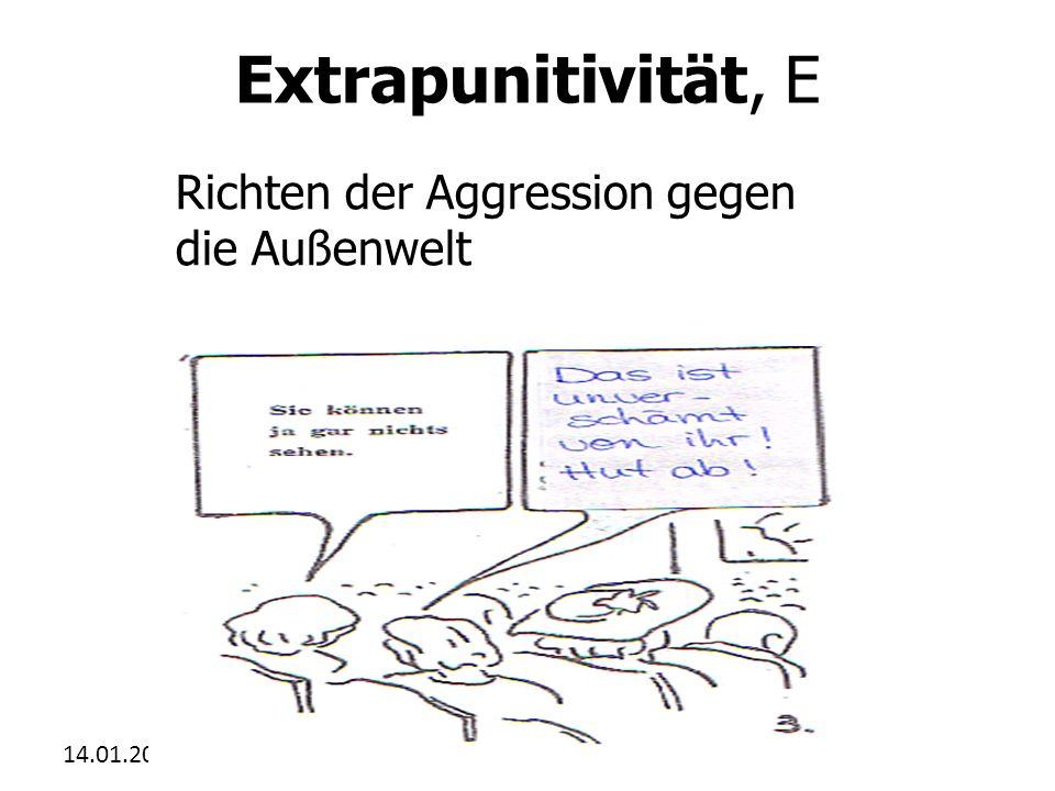 Extrapunitivität, E Richten der Aggression gegen die Außenwelt