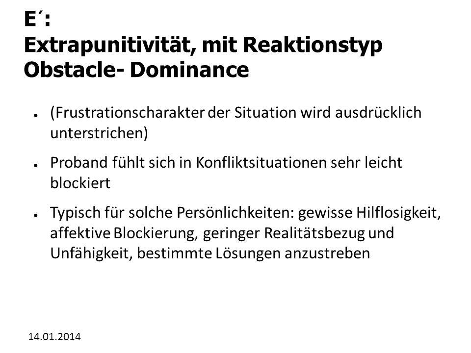 E´: Extrapunitivität, mit Reaktionstyp Obstacle- Dominance