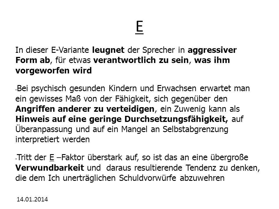 E In dieser E-Variante leugnet der Sprecher in aggressiver Form ab, für etwas verantwortlich zu sein, was ihm vorgeworfen wird.