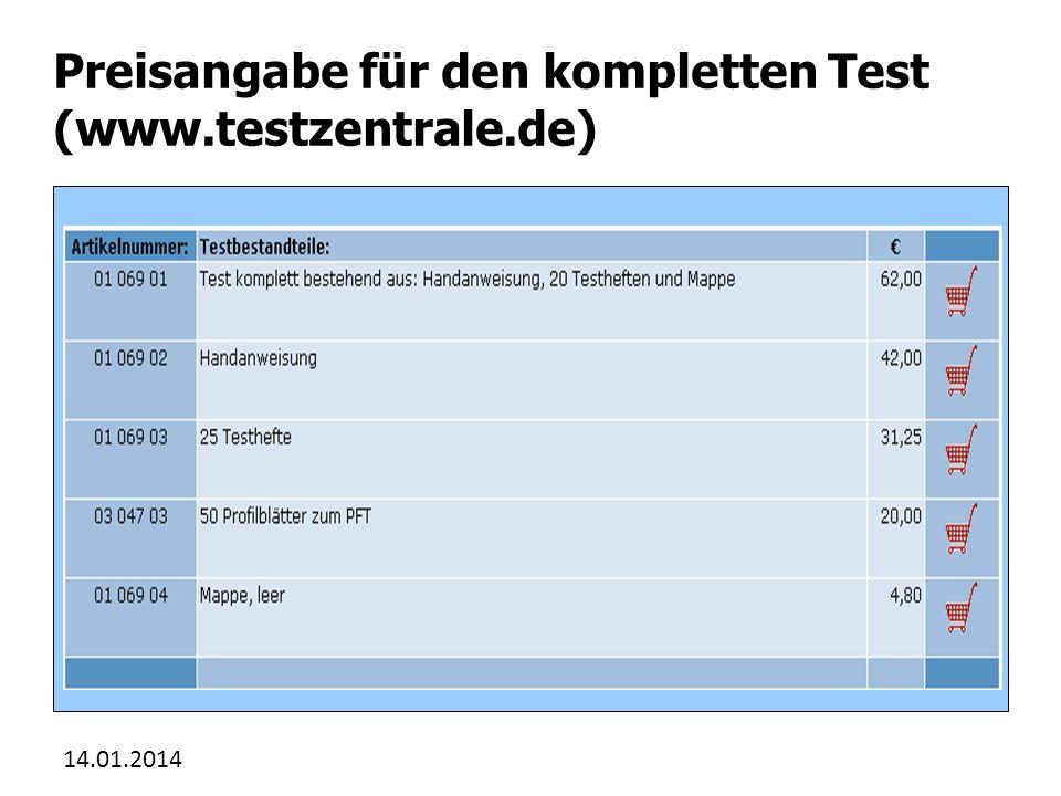 Preisangabe für den kompletten Test (www.testzentrale.de)