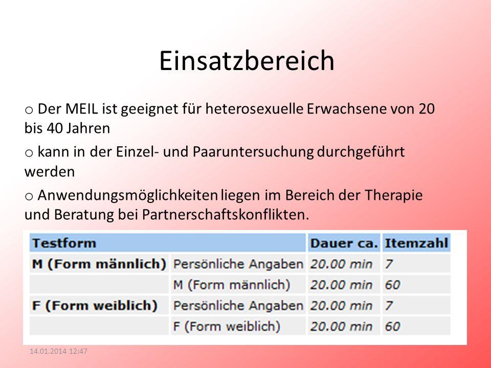 Einsatzbereich Der MEIL ist geeignet für heterosexuelle Erwachsene von 20 bis 40 Jahren.