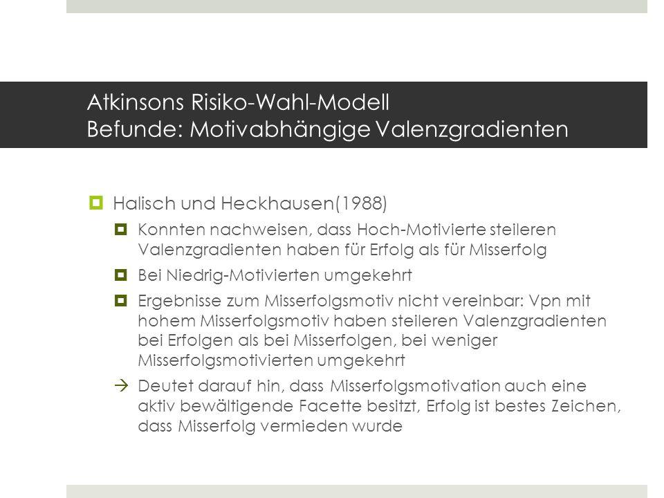Atkinsons Risiko-Wahl-Modell Befunde: Motivabhängige Valenzgradienten