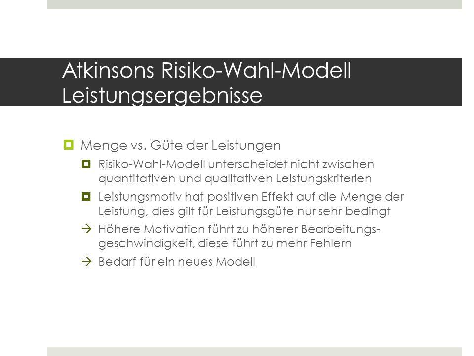 Atkinsons Risiko-Wahl-Modell Leistungsergebnisse