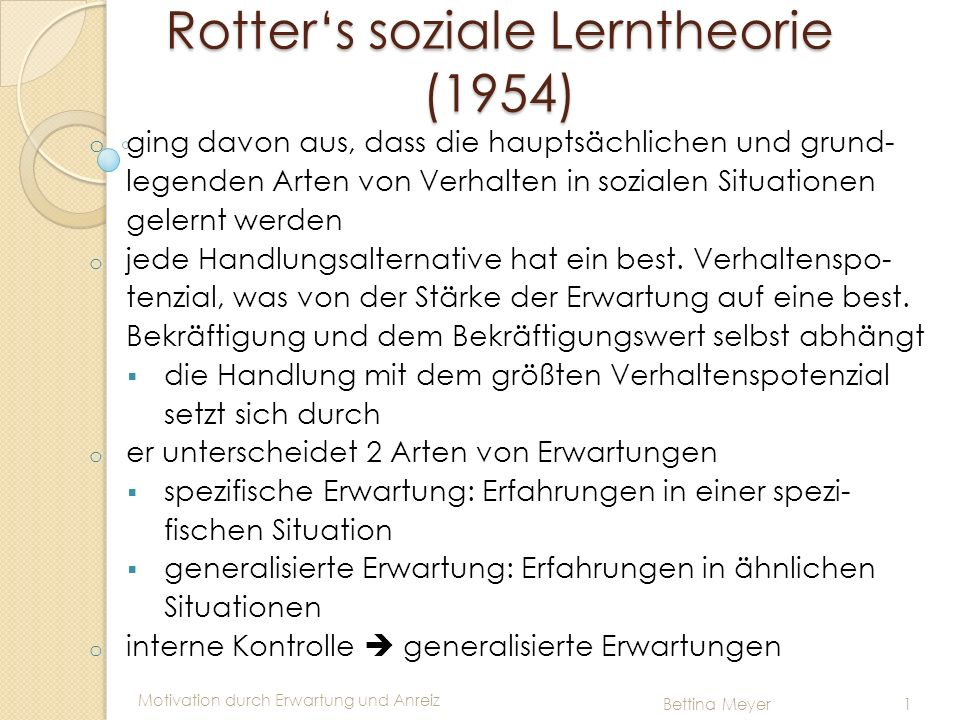 Rotter's soziale Lerntheorie (1954)