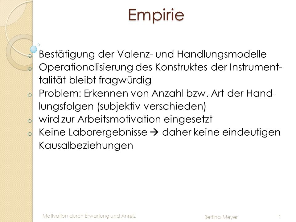 Empirie Bestätigung der Valenz- und Handlungsmodelle