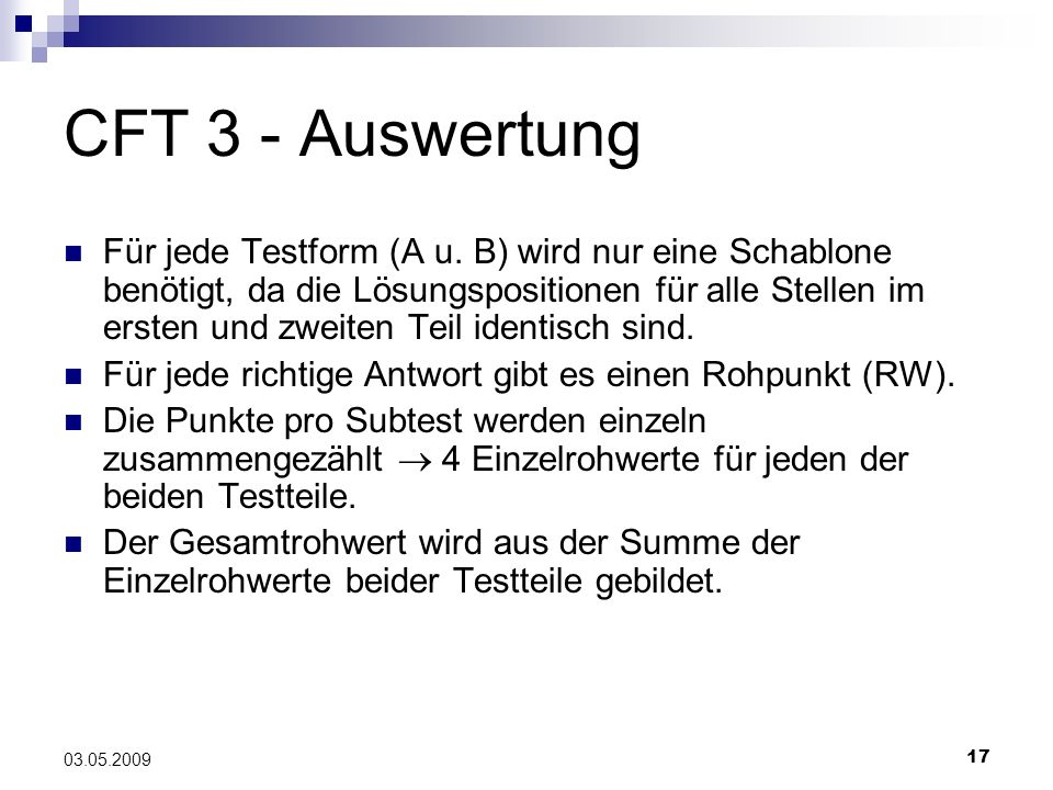 CFT 3 - Auswertung