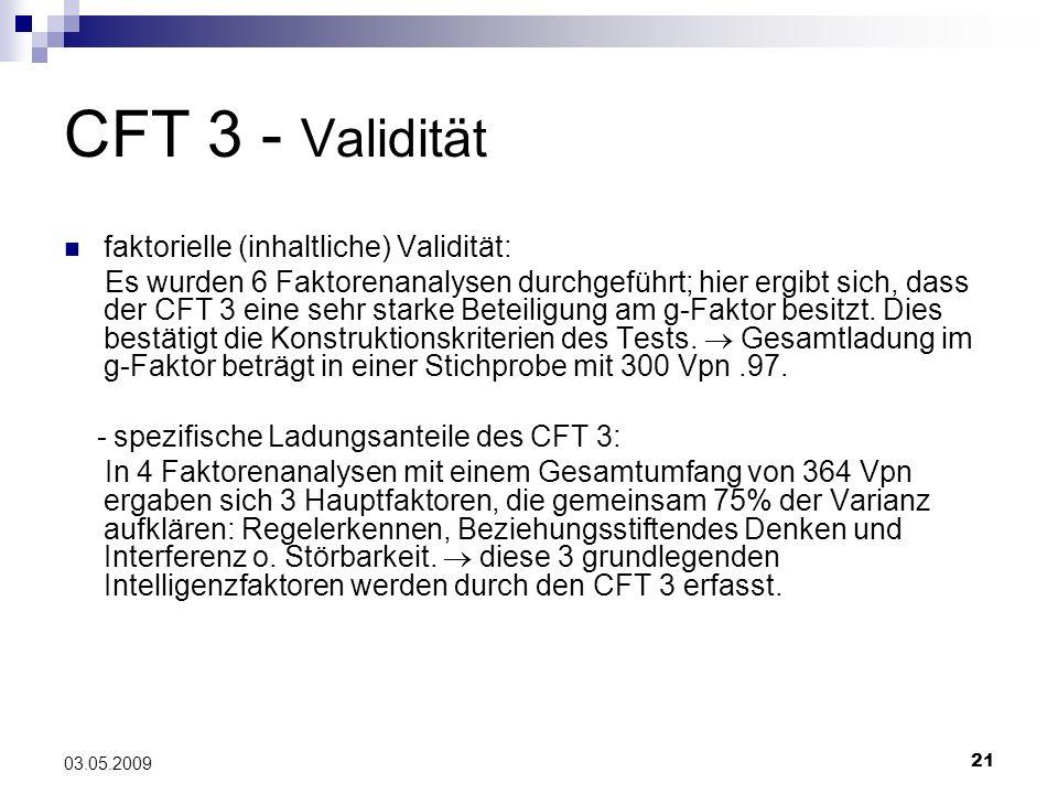 CFT 3 - Validität faktorielle (inhaltliche) Validität: