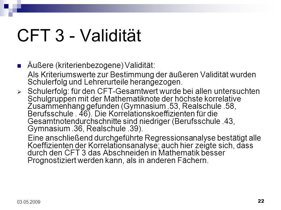 CFT 3 - Validität Äußere (kriterienbezogene) Validität: