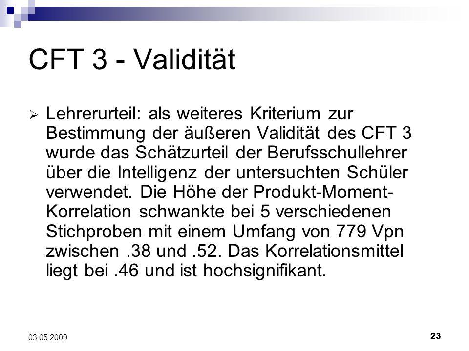 CFT 3 - Validität