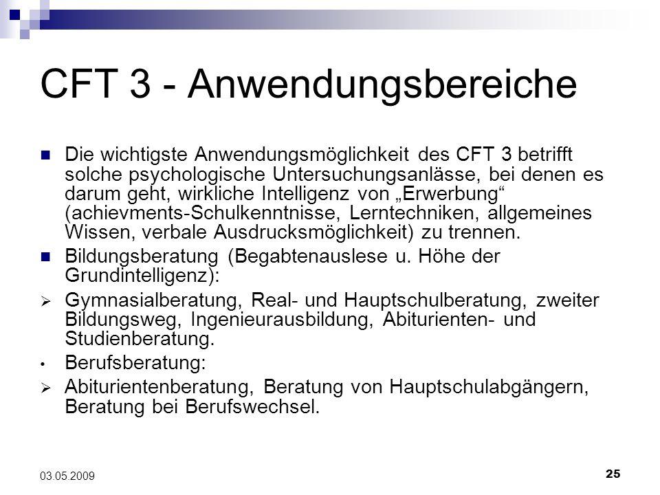 CFT 3 - Anwendungsbereiche
