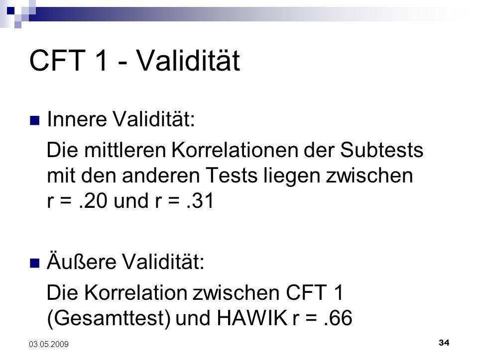 CFT 1 - Validität Innere Validität: