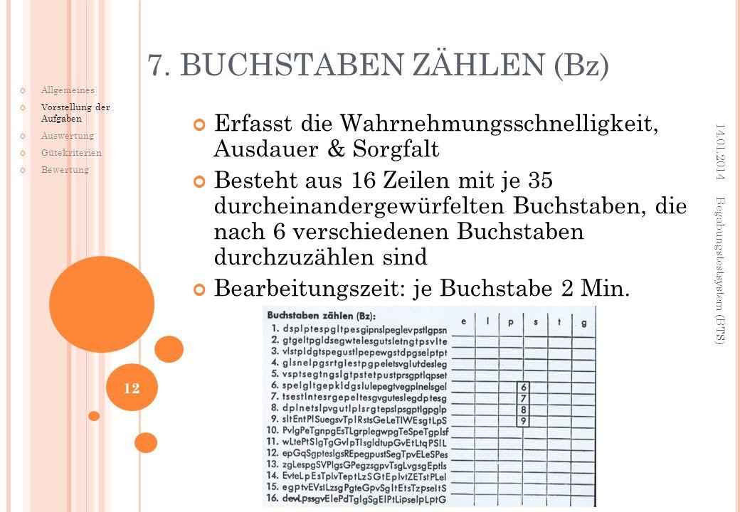 7. BUCHSTABEN ZÄHLEN (Bz)