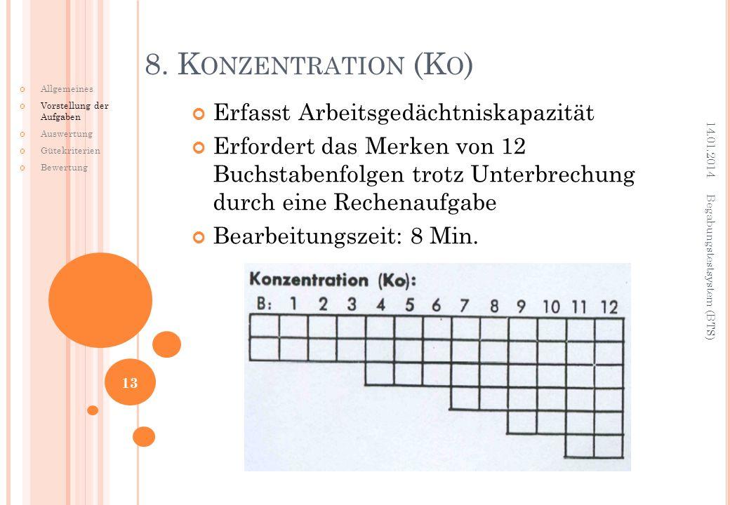 8. Konzentration (Ko) Erfasst Arbeitsgedächtniskapazität