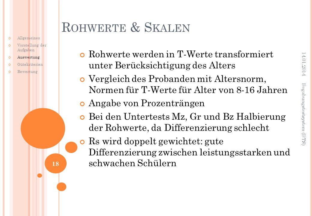 Rohwerte & Skalen Allgemeines. Vorstellung der Aufgaben. Auswertung. Gütekriterien. Bewertung.