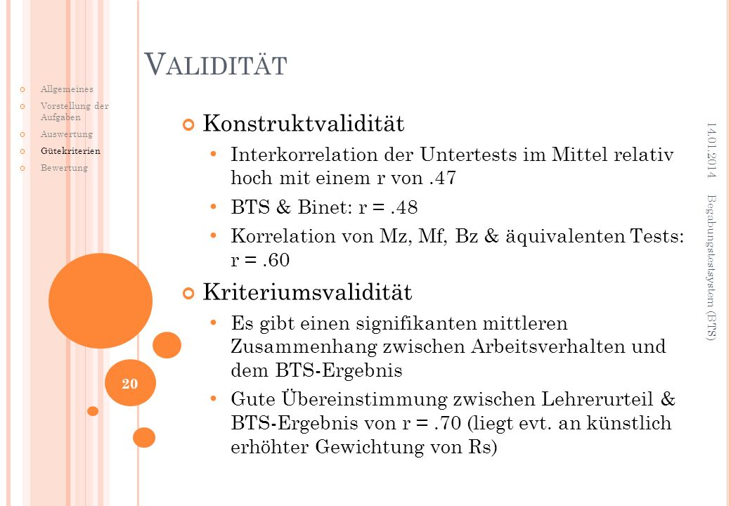 Validität Konstruktvalidität Kriteriumsvalidität