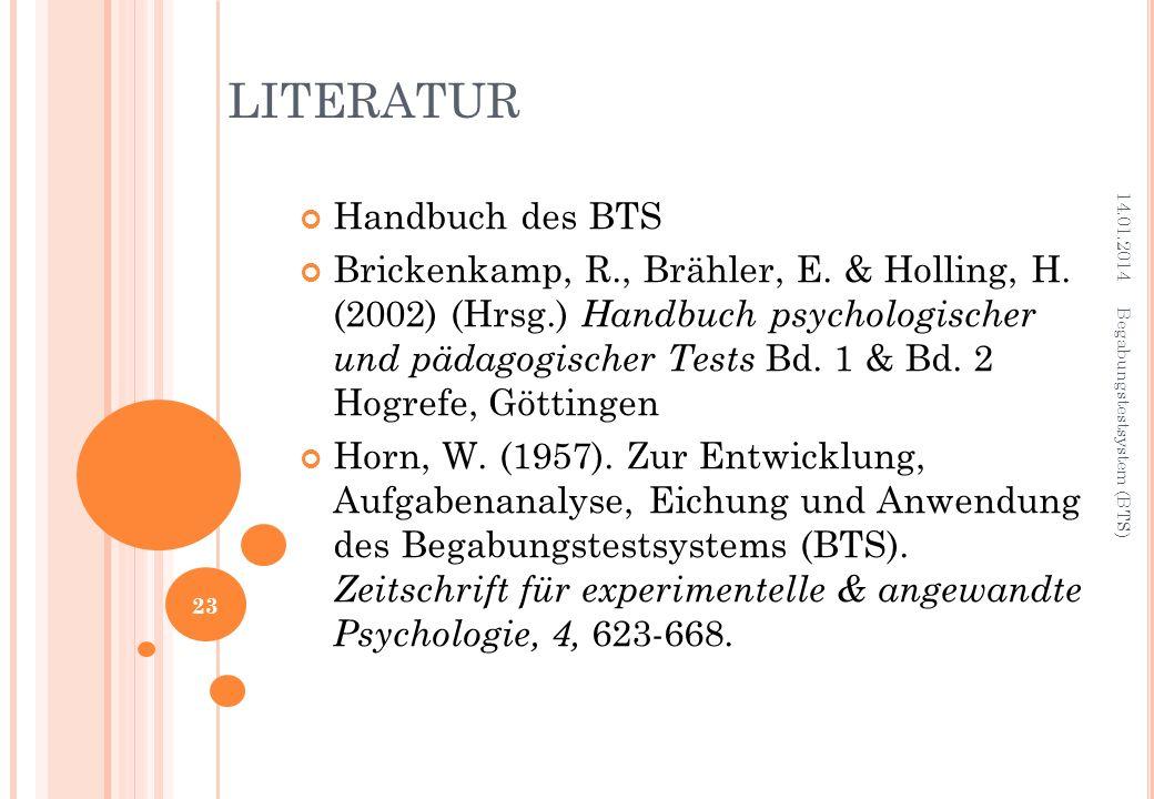 LITERATUR Handbuch des BTS