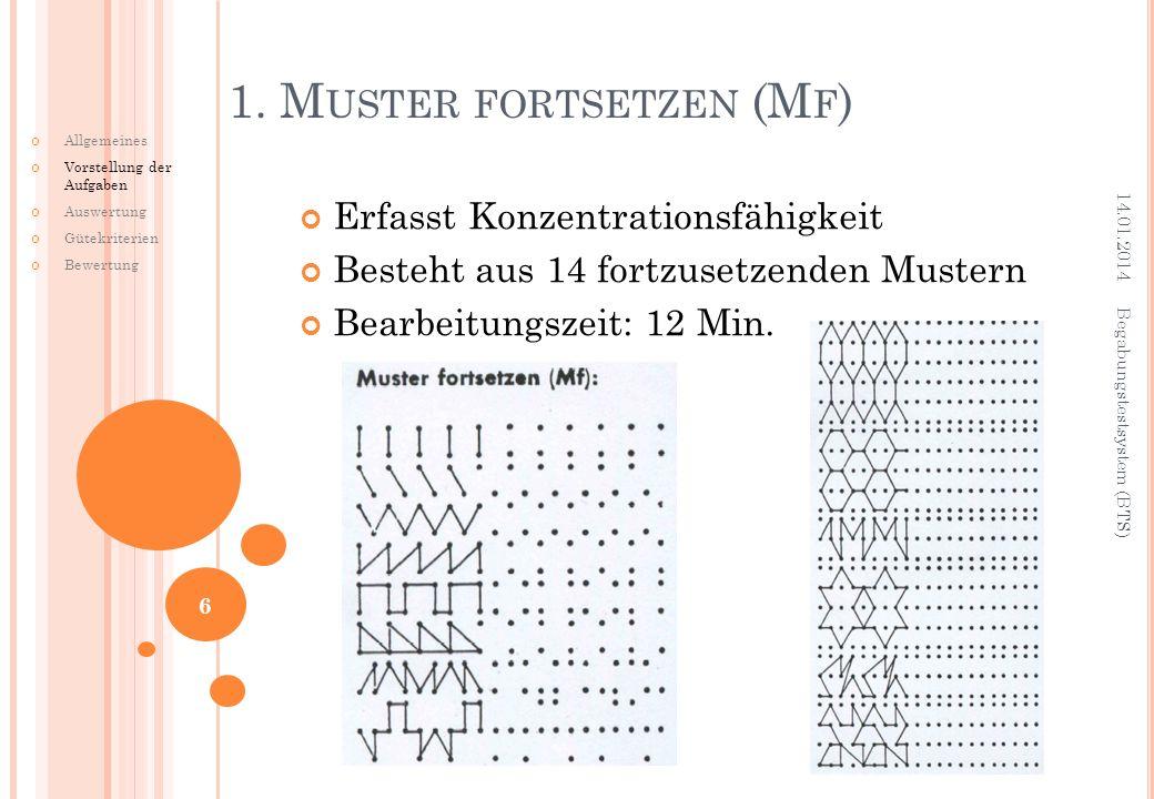 1. Muster fortsetzen (Mf)