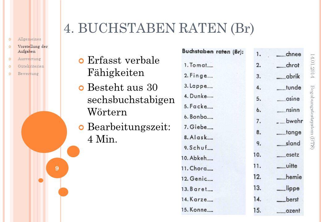 4. BUCHSTABEN RATEN (Br) Erfasst verbale Fähigkeiten