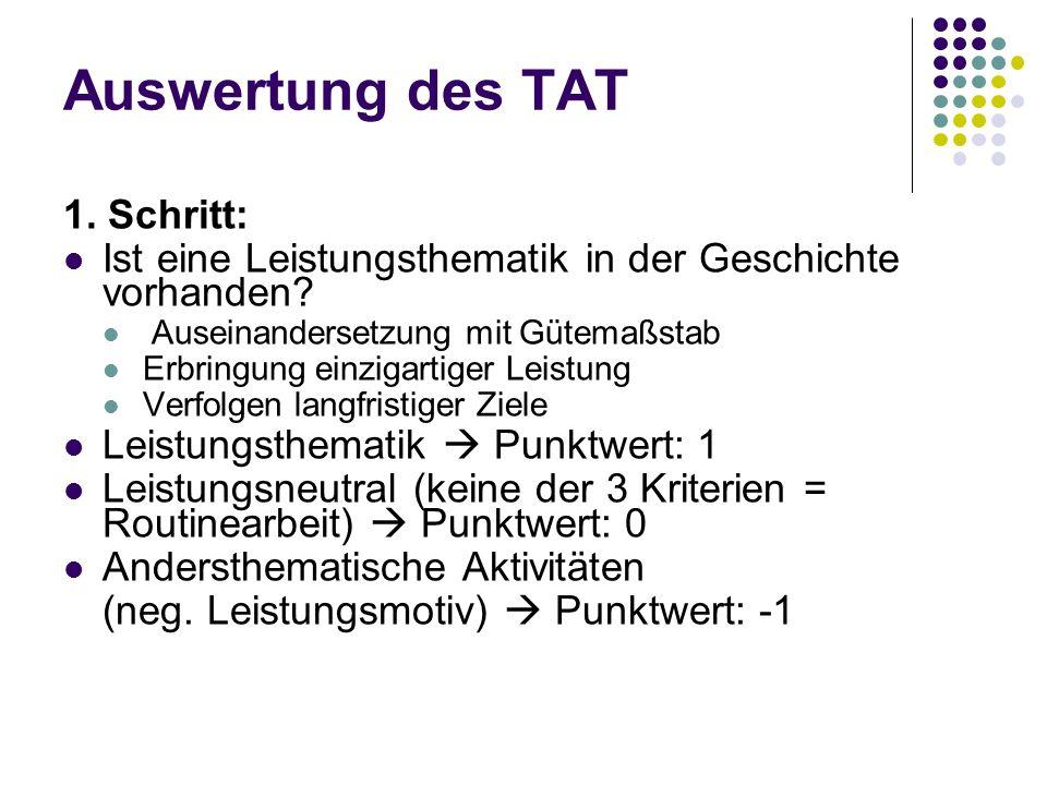 Auswertung des TAT 1. Schritt:
