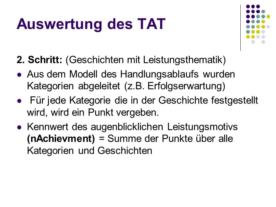 Auswertung des TAT 2. Schritt: (Geschichten mit Leistungsthematik)