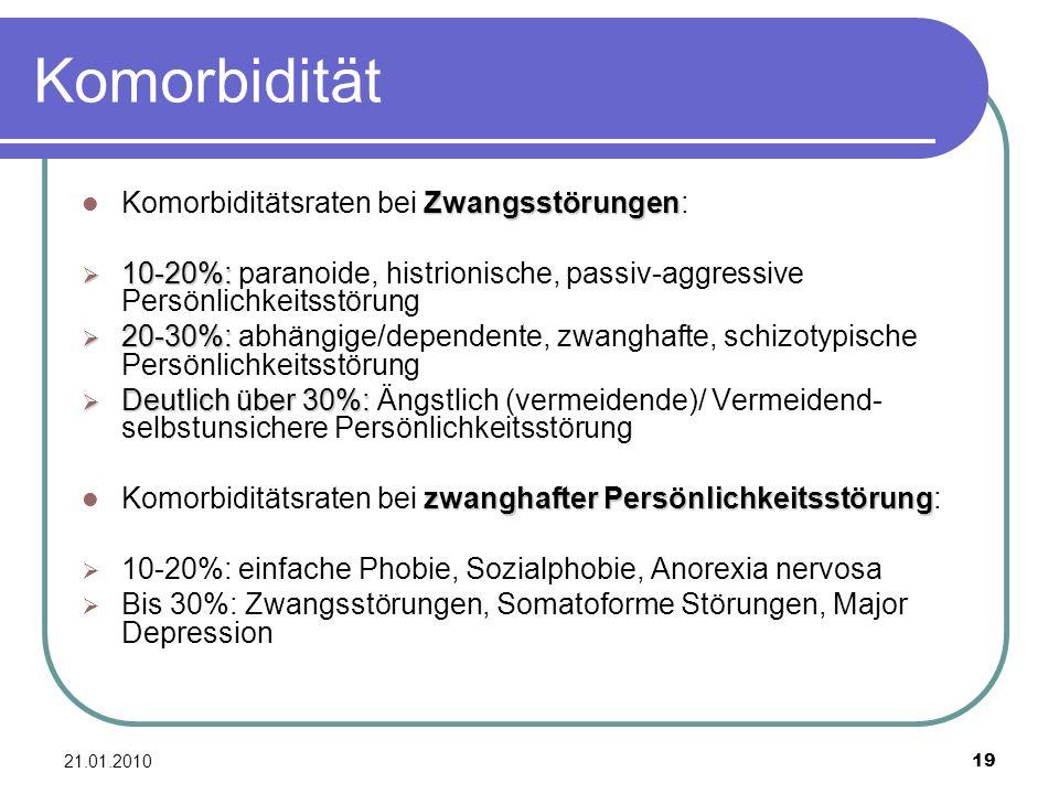 Komorbidität Komorbiditätsraten bei Zwangsstörungen: