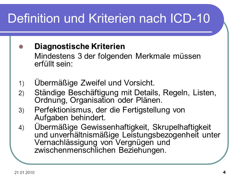 Definition und Kriterien nach ICD-10