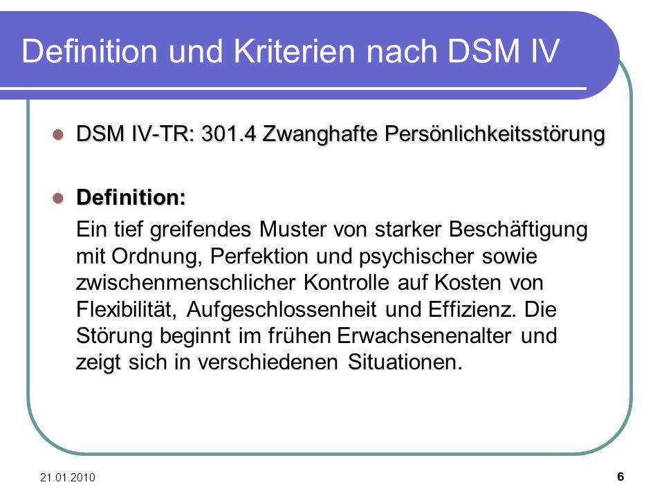 Definition und Kriterien nach DSM IV