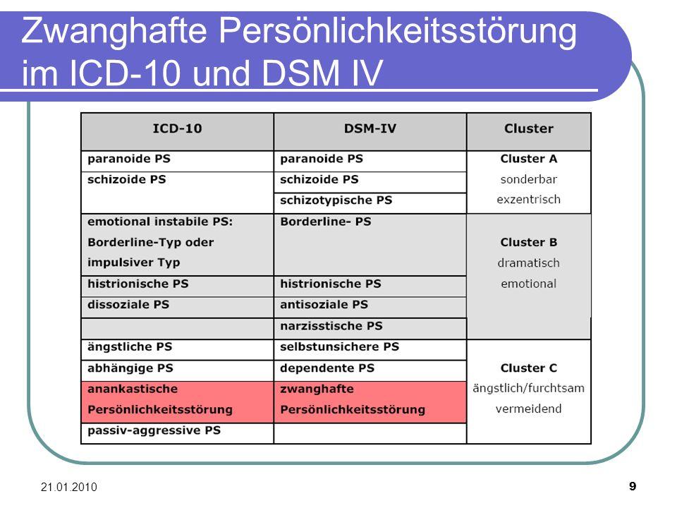 Zwanghafte Persönlichkeitsstörung im ICD-10 und DSM IV