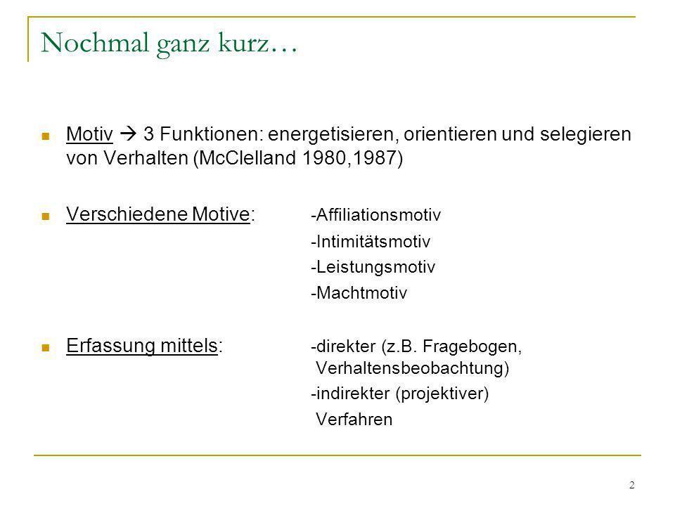Nochmal ganz kurz… Motiv  3 Funktionen: energetisieren, orientieren und selegieren von Verhalten (McClelland 1980,1987)
