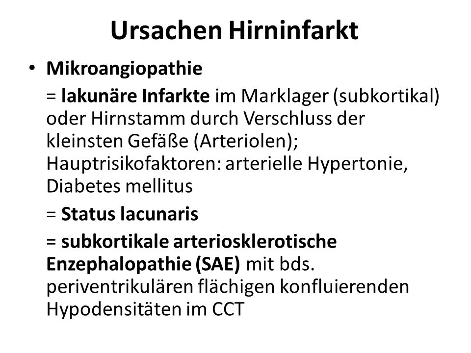 Ursachen Hirninfarkt Mikroangiopathie
