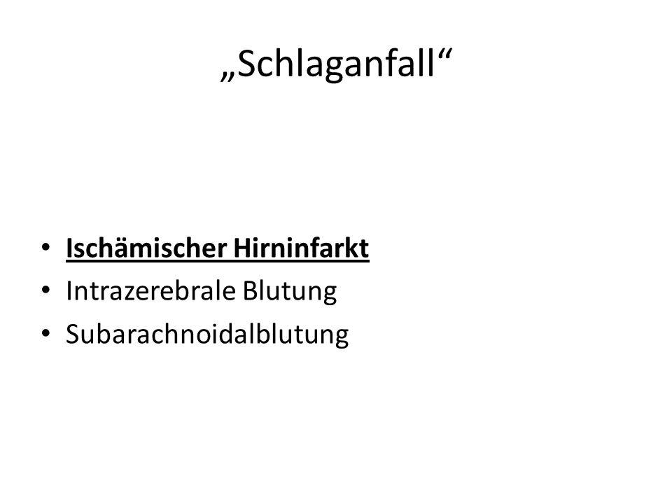 """""""Schlaganfall Ischämischer Hirninfarkt Intrazerebrale Blutung"""