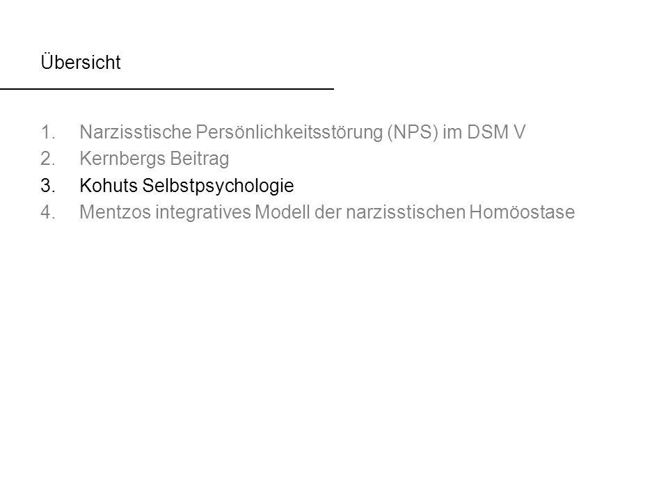 Übersicht Narzisstische Persönlichkeitsstörung (NPS) im DSM V. Kernbergs Beitrag. Kohuts Selbstpsychologie.