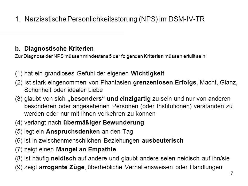 1. Narzisstische Persönlichkeitsstörung (NPS) im DSM-IV-TR