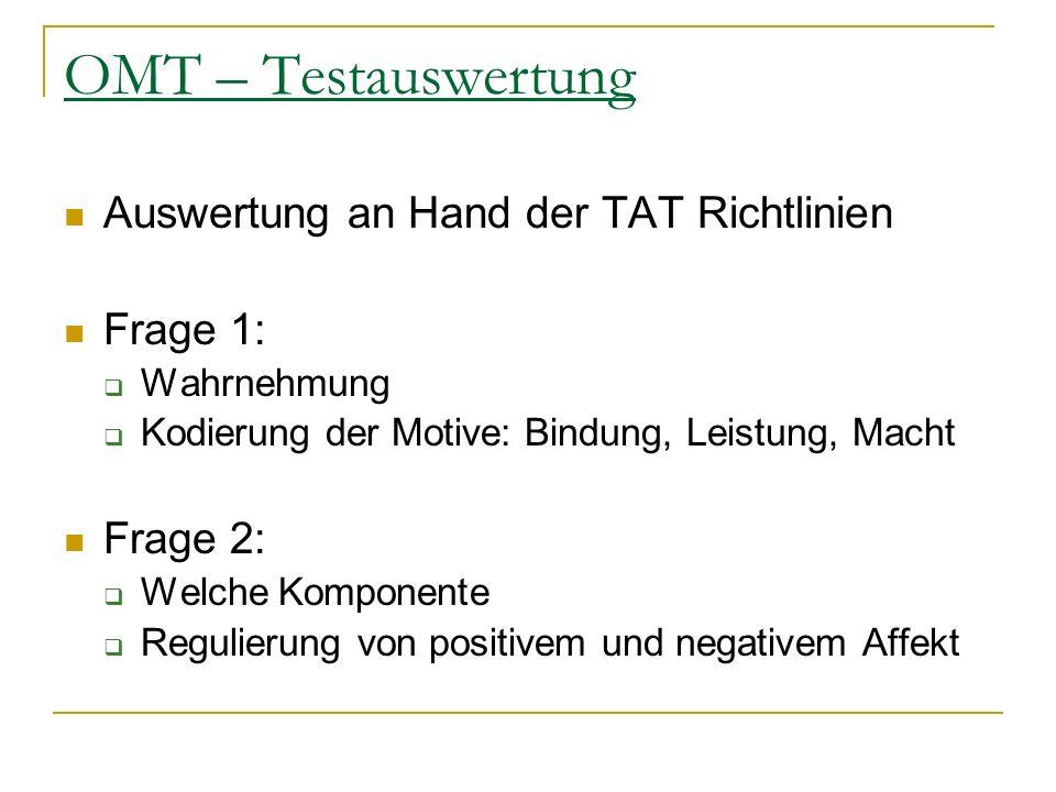 OMT – Testauswertung Auswertung an Hand der TAT Richtlinien Frage 1: