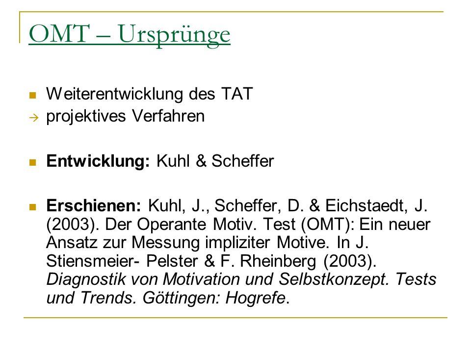 OMT – Ursprünge Weiterentwicklung des TAT projektives Verfahren