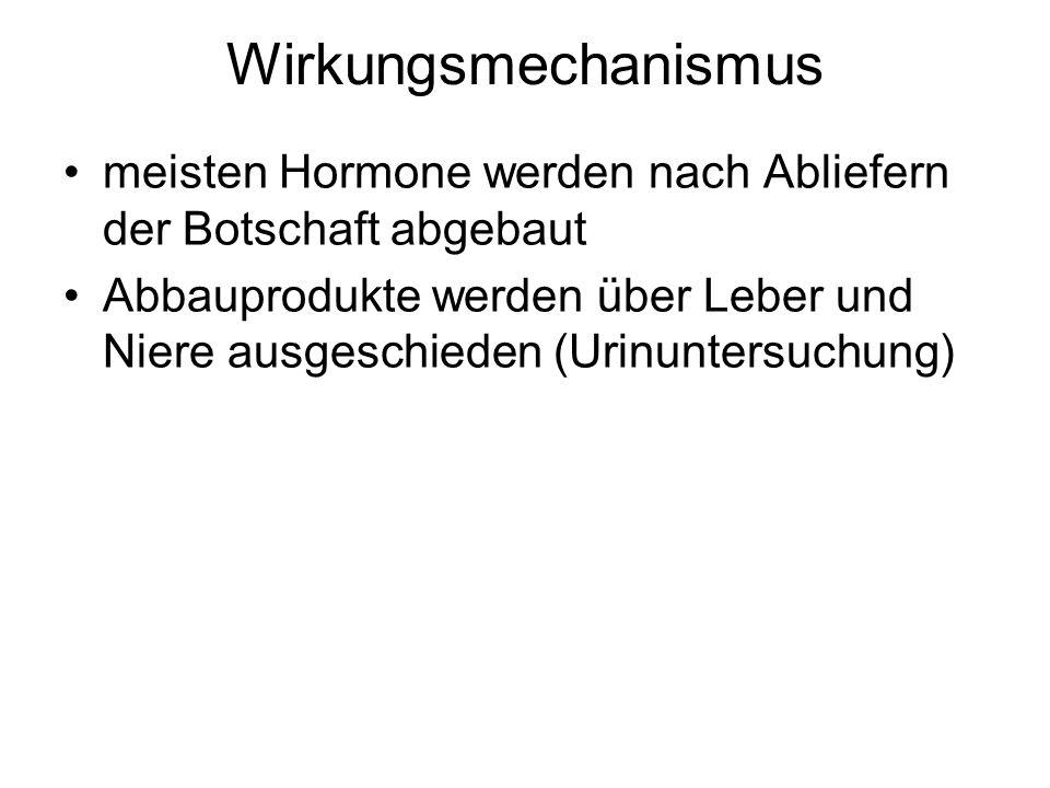 Wirkungsmechanismus meisten Hormone werden nach Abliefern der Botschaft abgebaut.